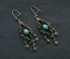 SOLID 925 STERLING SILVER FILIGREE TURQUOISE CHANDALIER EARRINGS