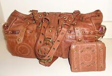 "Betsey Johnson Brown Leather "" Saddle up Betsey "" Tote w/ matching Wallet NWT!"