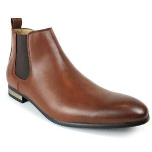 Men's Ankle Dress Boots Side Zipper Almond Round Toe Leather Chelsea By AZARMAN