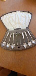 Antique Vintage Silver Plated Teaspoons & Sugar Tongs, Original Box