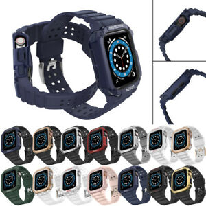 Band Strap+Cover Case for Apple Watch Strap Series SE 7 6 5 4 3 2 1 38-44 mm