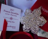 2017 *NIB* REED AND BARTON ANNUAL 20TH SNOWFLAKE STERLING CHRISTMAS ORNAMENT