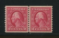 1914 US Stamp #444 Mint Lightly Hinged Grade VF 80 Guide Line Pair Certified