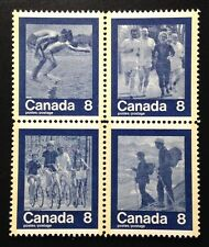 """Canada #629-632a MNH, """"Keep Fit"""" Summer Sports Block of Stamps 1974"""