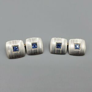 1920s Art Deco Sapphire 14K Gold and Platinum Square Cuff Links 10g