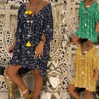 Women Casual Flower Print 3/4 Sleeve T-Shirt Dress Mini Skirts Summer Tops New