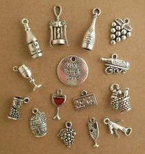 15 SILVER WINE THEME CHARMS - Red Wine Glass Bottles Corkscrew Grapes + LOT SET