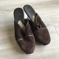 Cole Haan Brown Suede Leather Clogs Mules Slide Studded Womens Heels 8.5 B
