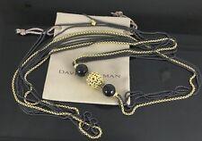David Yurman 18K Yellow Gold Blackened Silver Onyx Quatrefoil Box Chain Necklace