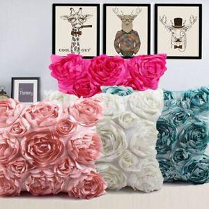 "16"" Satin Rose Flower Waist Throw Pillow Case Cushion Cover Sofa Home Decoration"