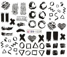 Nail Art Stickers Water Decals Transfers Black Designs XO Triangles (BN1229)