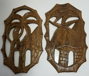 Pair of Mel'ange Collection Mozambique Handcrafted Wood Plaques Palm Tree