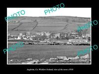 OLD LARGE HISTORIC PHOTO OF AUGHRIM WICKLOW IRELAND, VIEW OF THE TOWN c1910