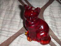 FENTON CAT RUBY RED ART GLASS FIGURINE/PAPERWEIGHT