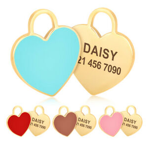 Personalised Dog Tag Heart Shape Pet Puppy Cat Engraved ID Nameplate Custom Blue