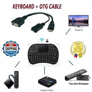 2.4G RF Mini Wireless Keyboard Mouse & OTG USB Adapter 4 Amazon FIRE Stick, blk