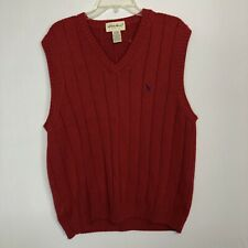 Eddie Bauer Red Cotton V Neck Basic Vest Mens Size L Sleeveless Sweater Cable Kn