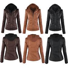 Women's PU Leather Jacket Motorcycle Biker Zip Hooded Parka Coat Winter Outwear