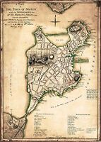 MAP ANTIQUE MILITARY 1777 PAGE BOSTON CITY DEFENCES REPLICA POSTER PRINT PAM2049