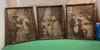 Vtg 3pc Set Victorian Tiger Stripe Metal Corners Frame 8x10 W/R. Beyshlag Prints