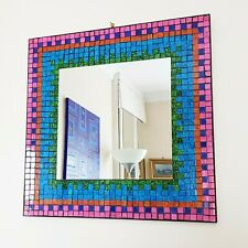 Square multicoloured mosaic wall mirror 40cm-hand made in Bali-NEW