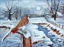 Country Folk Art Prints Red Tailed Hawk Bird Snow Moon Landscape Arie Taylor