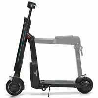 LED Bluetooth Electric Folding Scooter Removable Seat Speed up to 15.5 MPH Black
