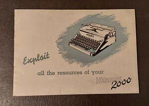 Vintage Hermes 2000 Typewriter Original Owners Manual