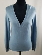 theory women S/P blue silk cashmere blend v-neck sweater long sleeve