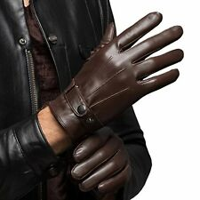 CASF Men's Warm Lambskin Genuine Leather Gloves For Men Winter Driving Brown XL