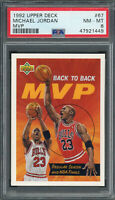 Michael Jordan Chicago Bulls 1992 Upper Deck MVP Basketball Card #67 PSA 8