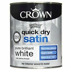 Crown Quick Dry Satin Pure Brilliant White - Wood & Metal - Paint  750ml