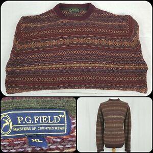 "Mens PG Field XL/46/48"" Chest Jumper Sweater Pure Lambs Wool Fairisle Red"