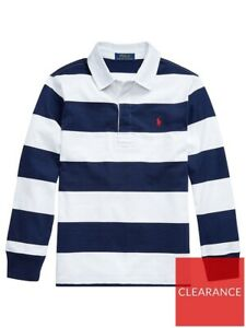 Ralph Lauren Boy's Long Sleeve Striped Rugby Top Polo Shirt Navy And White
