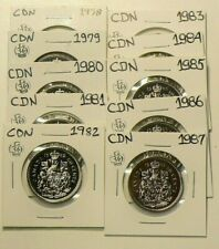 1978 to 1987 Canada 50 Cents Lot of 10 Uncirculated #2758