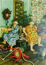 Postcard Art Two Old Ladies Friends Sisters Argument Inge Look Finland