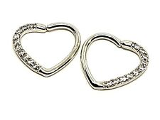 Pair 10 CZ Heart Zircon Pave Twist Ring 18g (1mm) Orbital Daith Helix Hoop Ring