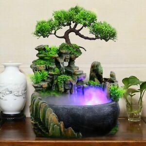 Water Fountain Rockery Waterfall Desktop Zen Table Humidifier Home Office Decor