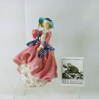 "Royal Doulton Figurine ""Top of the Hill"" Pink Dress Hallmarked Made in England"