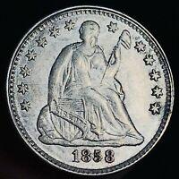 1858 Seated Liberty Half Dime 5C High Grade Choice 90% Silver US Coin CC5900