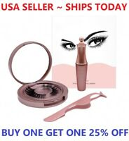 Magnetic False Eyelashes Natural Eye Lashes Extension Liquid Eyeliner + Tweezer