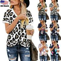 Women's Casual V-Neck Printed T-shirt Ladies Summer Loose Fit Blouse Tunic Top