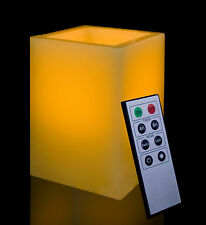 """Square Smooth Edge 5"""" Remote Controlled Flameless Wax Pillar LED Candle"""