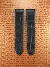 23mm Deployment Leather Strap Large Black Watch Band SANTOS 100 38 X 23 mm