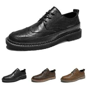 Mens Wing Tip Carved Work Office Round Toe Flats Brogue Low Top Business Shoes