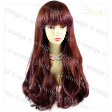 Wiwigs Long Wavy Auburn & Purple Highlighted Cosplay Party Hair Ladies Wig