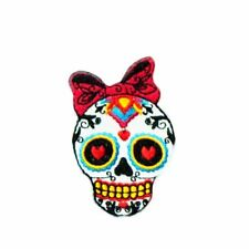 Shy Sugar Skull (Iron on) Embroidery Applique Patch Sew Iron Badge