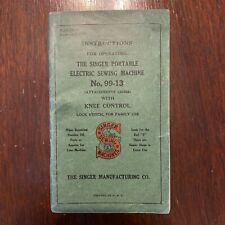 New listing 1925 Singer Instruction Manual Sewing Machine 99-13 18139 Vtg Knee Control