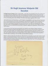 HUGH SEYMOUR WALPOLE 1884-1941 NOVELIST RARE ORIGINAL AUTOGRAPH BOOK PAGE