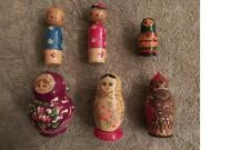 Vintage Russian & Japanese Nesting Dolls Hand Painted Wooden Matryoshka 6 sets!
